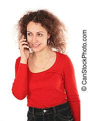 flicka, med, mobiltelefon