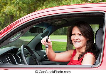 flicka, med, ny bil