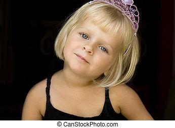 flicka, med, prinsessa, krona