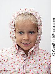 flicka, med, regnrock