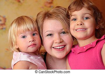 flicka, med, två barn