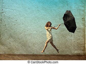 flicka, med, umbrella., foto, in, gammal, färg avbild,...