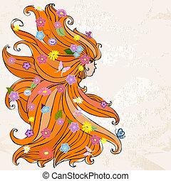 flicka, med, vacker, hår, och, blomningen