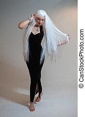 flicka, med, vitt hår