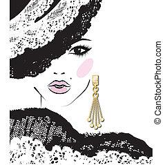 flicka, mode, örhänge, huvud, illustration, skiss