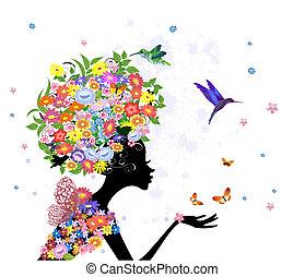 flicka, mode, blomningen