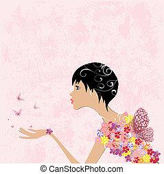 flicka, mode, blomningen, med, fjärilar