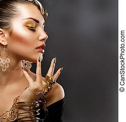 flicka, mode, makeup., guld, stående