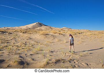 flicka, mojave, dyner, blå, medborgare, sand, sky, kelso, ...