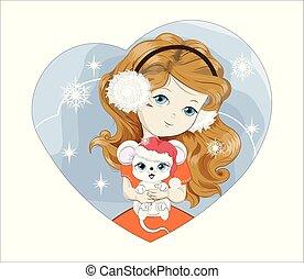 flicka, mus, jultomten, hjärta, claus