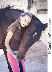 flicka, och, häst