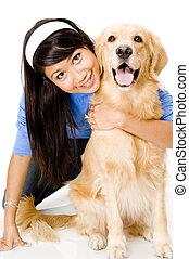 flicka, och, hund