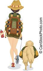 flicka, och, hund, trekking, eller, fotvandra