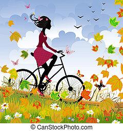 flicka, på, cykel, utomhus, in, höst