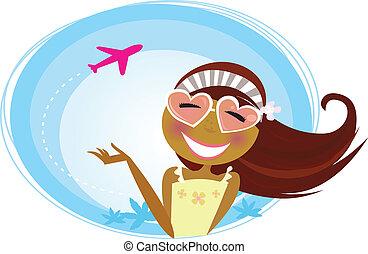 flicka, på, den, flygplats, resande, på semester