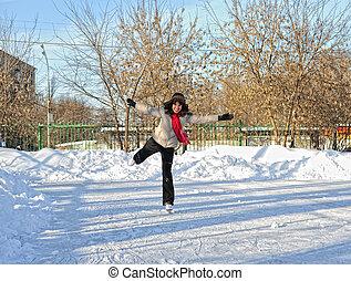 flicka, på, vinter, skridsko, rink
