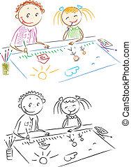 flicka, painting., pojke, vektor, barn, inlärning