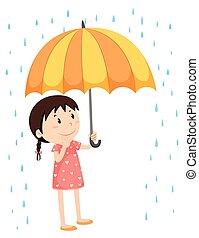 flicka, paraply, regna