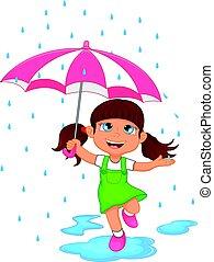flicka, paraply, regna, lycklig