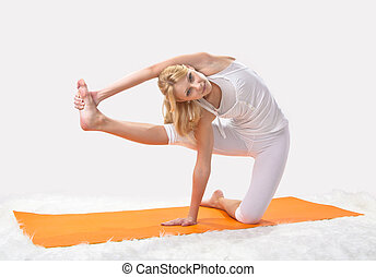 flicka, professionally, ung, upptagen, vacker, yoga