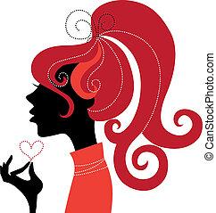 flicka, profil, silhuett, vacker
