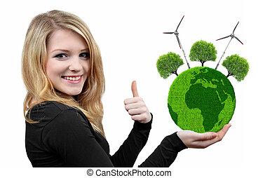 flicka, räcka hand, grön planet
