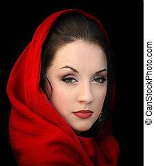 flicka, röd halsduk