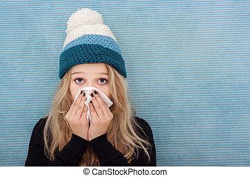 flicka, rökkanal, tonåring, sjuk