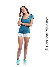 flicka, rörlig telefonera, yrke, tonåring