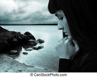 flicka, regn stormar, trist