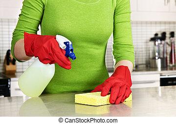 flicka, rensning, kök