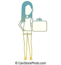 flicka, resväska, avslappnad, ung