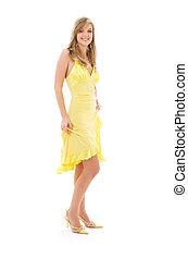 flicka, söt, klänning, gul