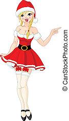 flicka, sexig, jultomten, jul, klänning