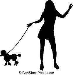 flicka, silhuett, hund