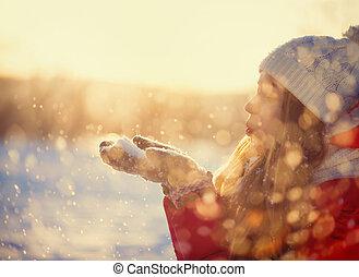 flicka, skönhet, kall, blåsning, vinter, snö, utomhus, park.