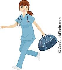flicka, sköta, illustration, resa