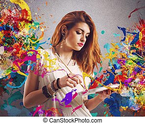 flicka, skapande, målare