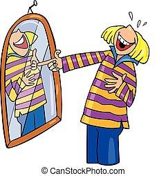 flicka, skratta, spegel