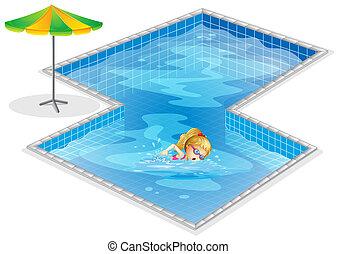 flicka, slå samman, simning