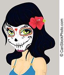 flicka, smink, maskera, tecknad film, död