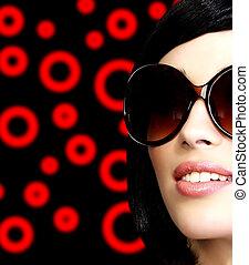 flicka, solglasögon, nätt