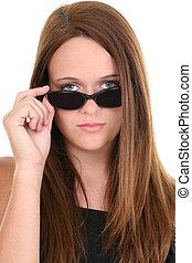 flicka, solglasögon, tonåring