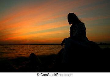 flicka, solnedgång