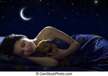 flicka, sova