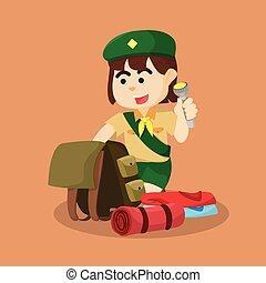 flicka spana, emballage, läger