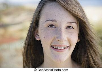 flicka, stående, utomhus, tonåring