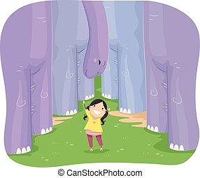 flicka, stickman, brontosaurie, unge