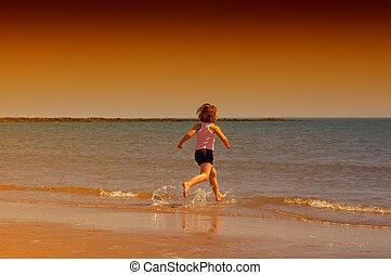 flicka, strand, spring