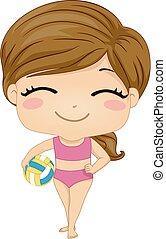 flicka, strand volleyboll, illustration, unge